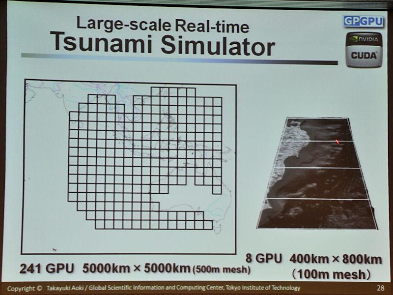 津波シミュレーションの目標。右が日本で津波の被害が多い三陸沖のエリアを想定したもの。左はスマトラ沖地震をシミュレーションで必要なエリアを示している