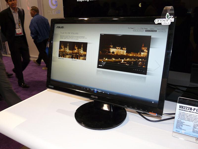 ASUSTeK 21.5型、VH222H-P。5ms、300cd/平方m、20,000:1、160/170度、HDMI、DVI-D、ミニD-Sub15ピン、スピーカー