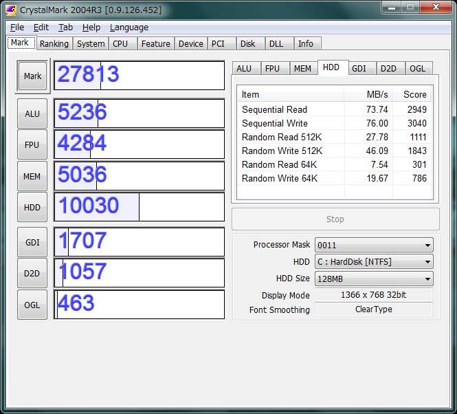 CrystalMark。CPUがAtom N450、そしてGMA3150なので、値はそれなりだ。ただ7200rpmのHDDのスコアは1万を超えている