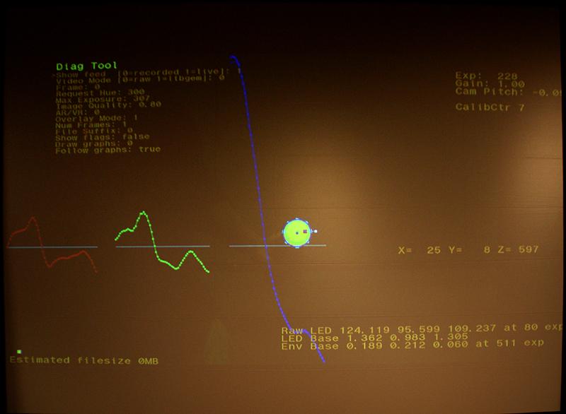 カメラからスフィアを検知した状態。X=25、Y=8、Z=597となっている。XとYは中央位置からの距離