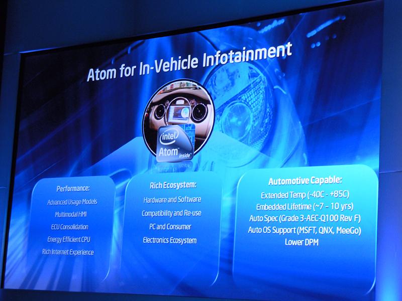 IVIに適した車載向けAtomプロセッサ