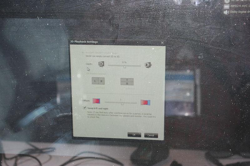 3Dの操作パネル。デモでは偏向方式の3Dグラスが利用されていたが、NVIDIAの3D Visionにも対応可能