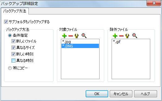 設定画面の「詳細」ボタンから呼び出せる詳細設定。バックアップの細かな条件を指定できる。設定をうまく組み合わせることでバックアップの無駄を防げる