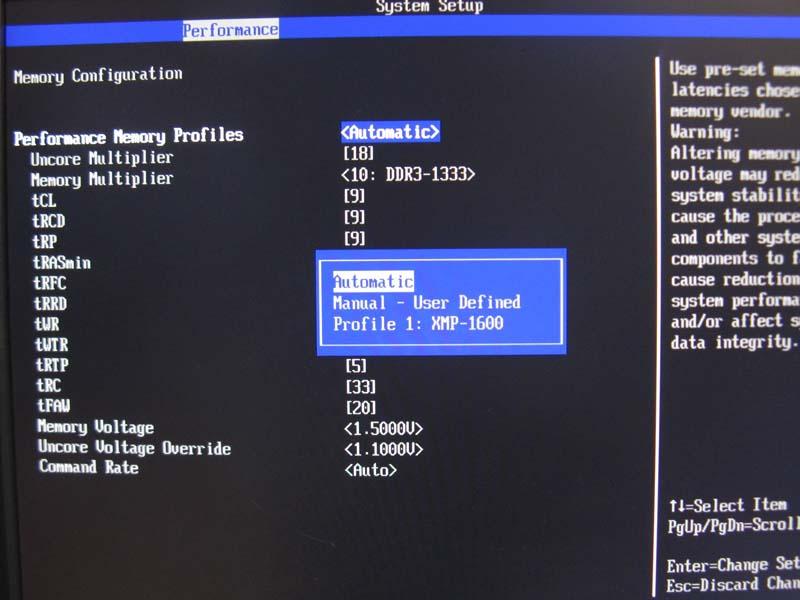 KHX1600C8D3K2/4GXをインストールすると、BIOSセットアップのPerformance Memory ProfileからもXMP-1600が見えるようになる。Intel Desktop Control Centerと同じ設定をBIOSセットアップから行なうことも可能だ