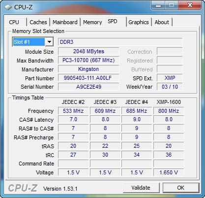 【図3】CPU-ZでKHX1600C8D3K2/4GXのSPD情報を表示したところ。JEDECプロファイルに加えて、XMP-1600のプロファイルが用意されている