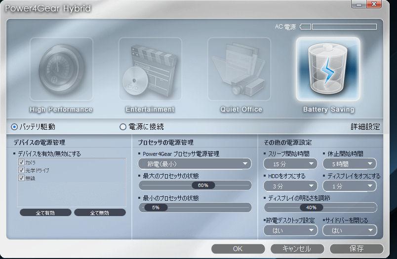Power4Gear Hybridは詳細な電力設定をわかりやすい1画面に収めたユーティリティ