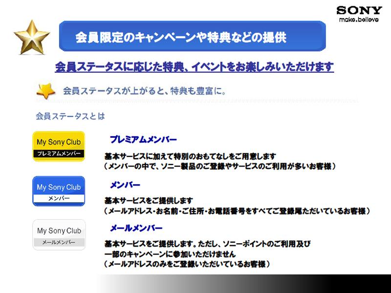 My Sony Clubのメンバーシップ