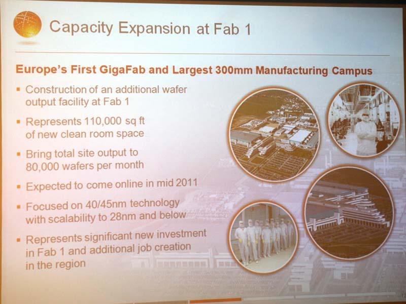 Fab1の拡張計画。新たな建物が建設され、クリーンルームの床面積が110,000フィート増える。製造能力は月産80,000ウェハまで高める計画