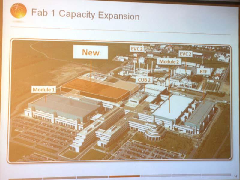 Module1(旧AMDのFab36)、Module2(旧AMDのFab38)の2つに加えて新たな建物を建設する、「NEW」と示されているのが新しい建物の建設予定地