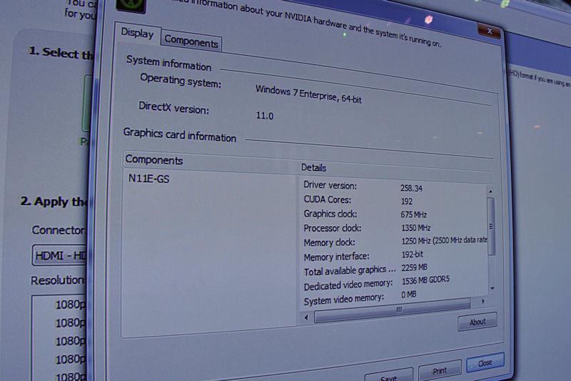 こちらはNVIDIAブースでチェックした未発表GPUとされる製品のプロパティ。CUDA Core数や各クロックなどを確認できる