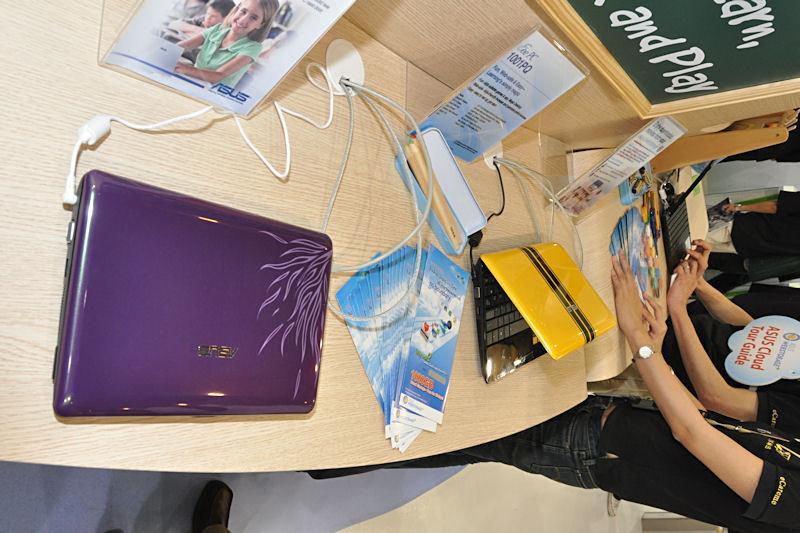 小中学生の教育支援用にリリースされる「1001PQ」は、Atom N450を採用。子供に受け入れられやすいデザインが特徴という