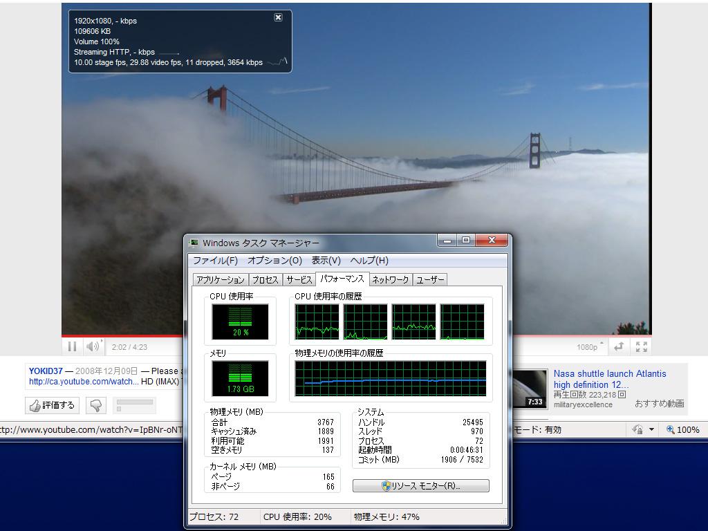 1080p再生時のCPU使用率。スムーズに再生され、CPU使用率は約20%