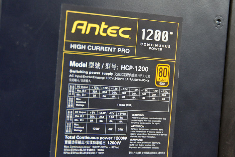 1,200Wモデルの仕様。12Vは30A×8で1,188Wとなる