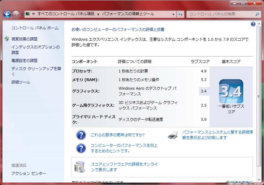 Windows エクスペリエンス インデックス。総合3.4。プロセッサ4.9、メモリ5.3、グラフィックス3.4、ゲーム用グラフィックス3.5、プライマリハードディスク5.9