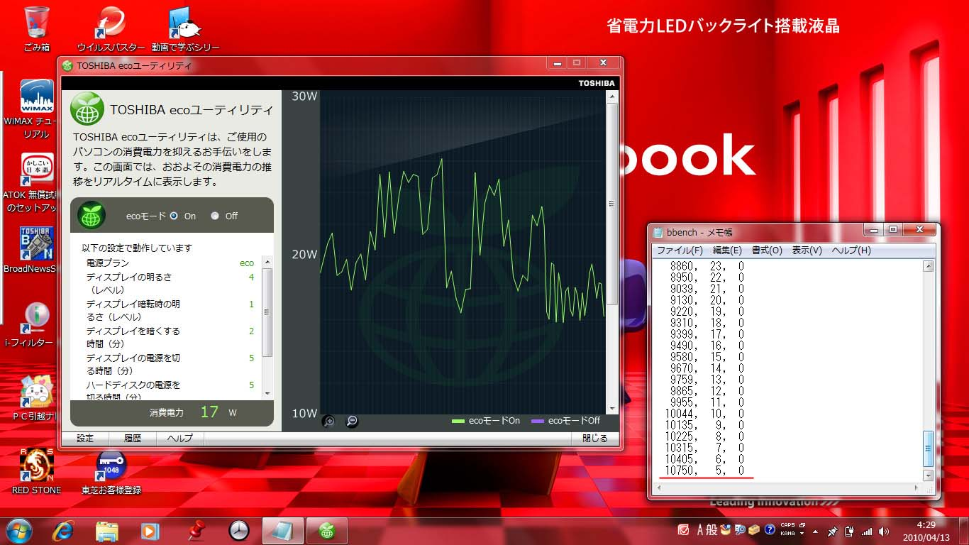 BBench。ECOモード、バックライト/OFF、キーストローク出力/ON、Web巡回/ON、WiFi/ONでのBBenchの結果だ。バッテリの残5%で10,750秒(2.98時間)