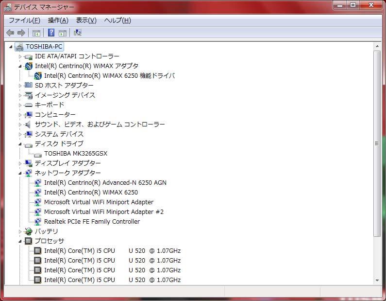 デバイスドライバ/主要なデバイス。HDDはMK3265GSX(320GB、5,400rpm、キャッシュ8MB)、WiMAXはIntel Centrino WiMAX 6250