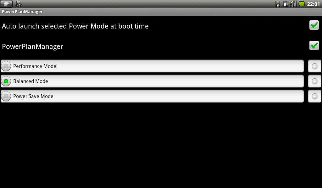 PowerPlan Managerではプロファイルが用意されており省電力設定を切り替えることができる