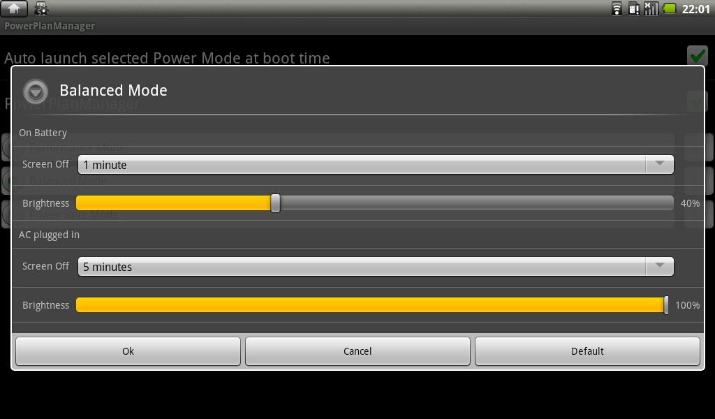 各プロファイルでは液晶輝度とディスプレイオフまでの時間を、AC使用・バッテリ使用別に設定可能