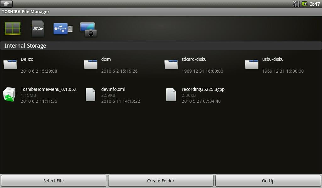 Toshiba File Managerはアイコン表示も大きく使い勝手のよいファイラになっている