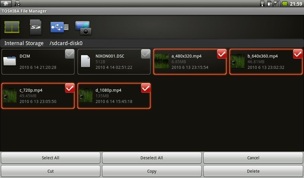 ファイルを選択してのカット/コピー&ペーストや削除なども直感的なUIで使いやすい