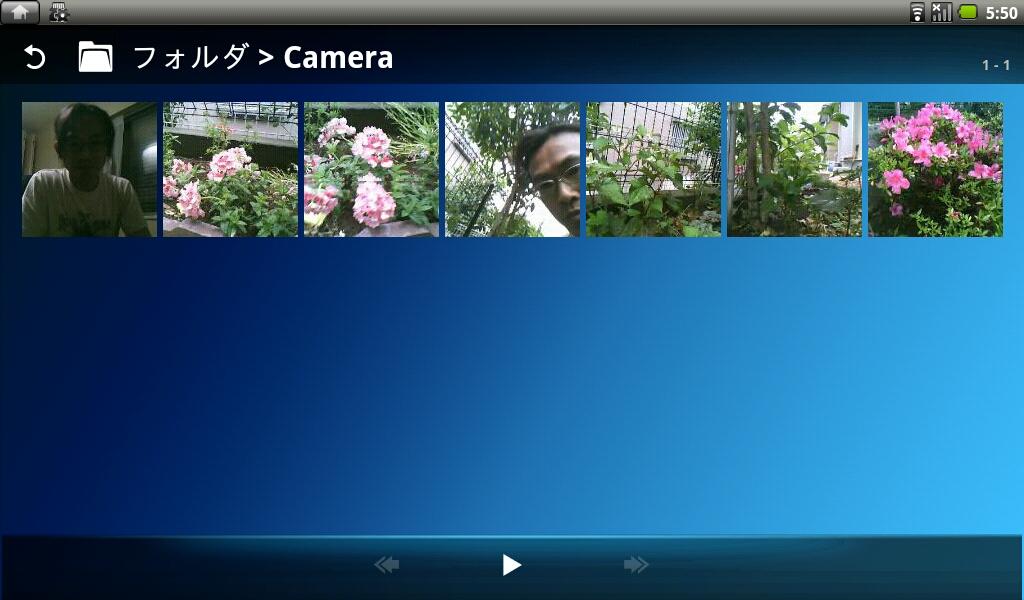 内蔵カメラで撮影した静止画ファイルの一覧。サムネイル表示も速度はまずまず