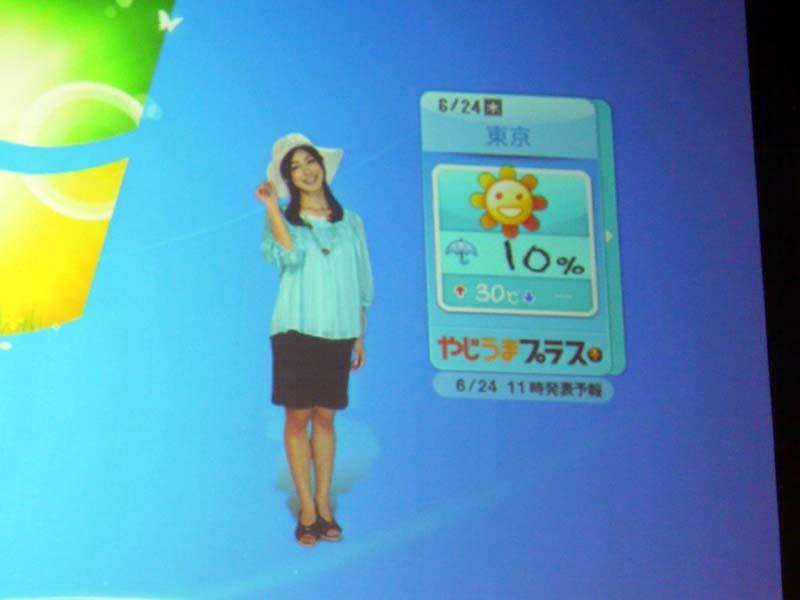 テレビ朝日では、加藤アナが表示される。帽子をかぶると30度以上になる