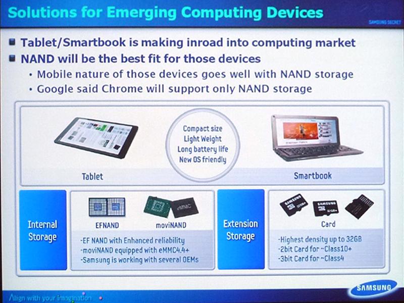 タブレットPCやスマートブックなどに搭載されるNANDフラッシュメモリ