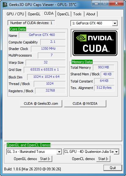 【画面1】GPU Caps Viewerの結果によると、GeForce GTX 465のCompute Capabilityは「2.1」となっており、GF100の「2.0」とは異なるバージョンになっている