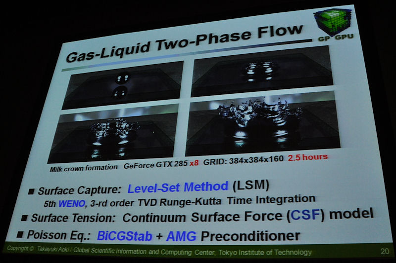 気体と液体が混ざる気液二相流計算の事例。圧力を求めるポアソン方程式の解法に疎行列計算が用いられるが、これはみずほ情報総研と共同研究した、BiCGStab(クリロフ部分空間法)と、前処理にAMGを組み合わせた手法を使っている