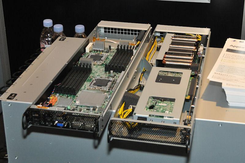 エルザジャパンが展示したAppro Green Blade Systemは、2CPU+2GPUのブレードサーバを、5Uサイズに5ノード搭載可能なシステム。5Uサイズで10CPU+10GPU環境を詰め込める