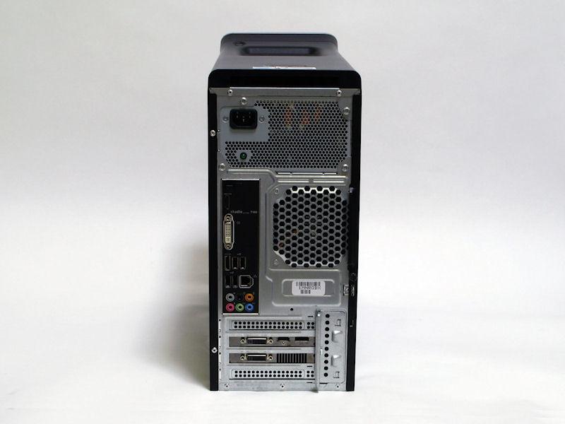 Stduio XPS 7100の背面。拡張カードスロット×4のmicroATXケースを採用している