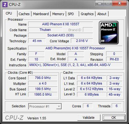 Phenom II X6 1055TのCPU-Zスクリーンキャプチャ。写真はアイドル時のものであり800MHz駆動だが、規定クロックは2.8GHz。6MBという巨大なL3キャッシュを搭載している