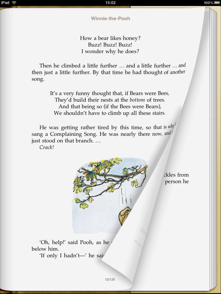 iBookstoreで購入した電子書籍タイトル(左)はページめくりなどの視覚効果が用意されているが、ユーザーが独自に取り込んだPDF(右)はこれら視覚効果がなく、ややそっけない印象