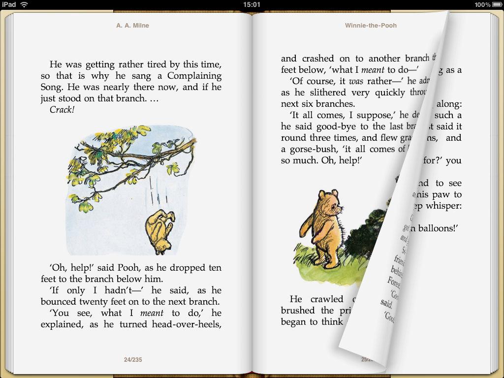 iBookstoreで購入した電子書籍タイトル(左)は見開き表示が可能だが、ユーザーが独自に取り込んだPDF(右)は単ページ表示のみとなる。またいずれの場合も左綴じで固定されている