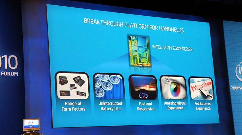 スマートフォン用のAtom Z6XXに関してはわずかに言及があっただけだった