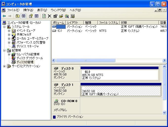 Windows XP Professional SP3(32bit)では、データドライブとして利用した場合でも全領域が認識できなかった
