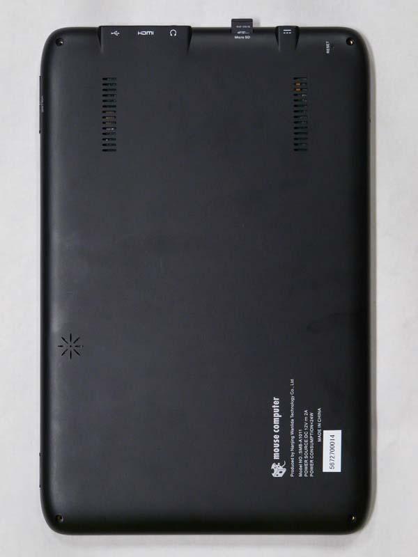 リアの右上に[RESET]ボタン、上中央にmicroSDカードスロット