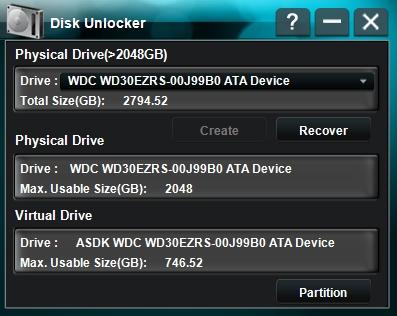 約2TB後方の領域をリマッピングした約746GBのバーチャルドライブが確保される