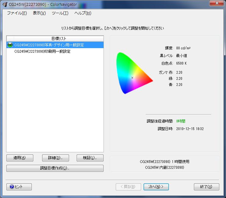 ColorNavigator/調整目標の設定。2つある設定は初期状態のもの。筆者はsRGB 80cd/平方mと60cd/平方mの2つを追加している