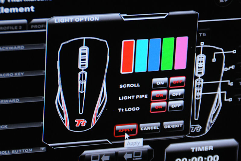 Windows上から内蔵LEDのカラーを変更可能なほか、光らせる部位の指定もできる