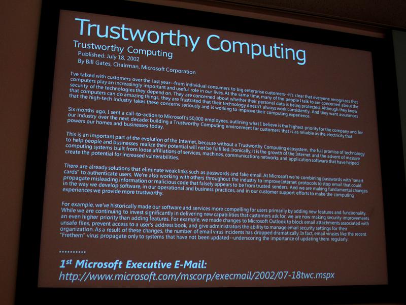信頼できるコンピューティングの実現に向けてビル・ゲイツ氏が全社員に送ったメール