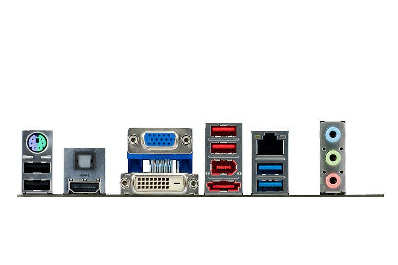 【写真10】I/Oパネル部のディスプレイ出力はDVI-D、D-Sub15ピン、HDMIの構成。eSATAやIEEE 1394も備えている(写真提供:ASUSTeK)