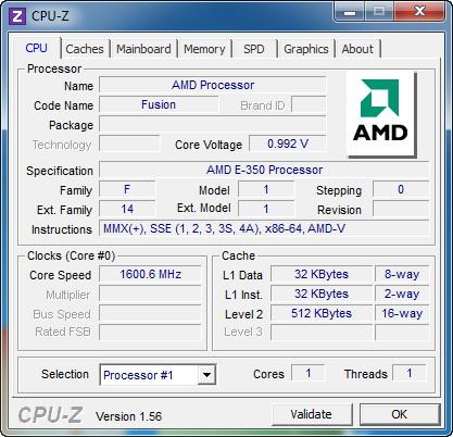 【画面1】E350IA-E45上でCPU-Zを実行した結果