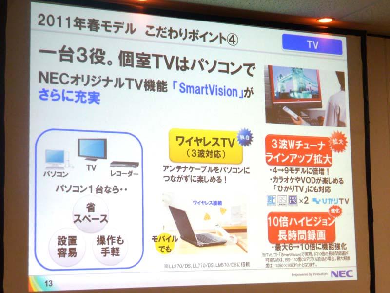 デジタルTVチューナ搭載モデルを拡大