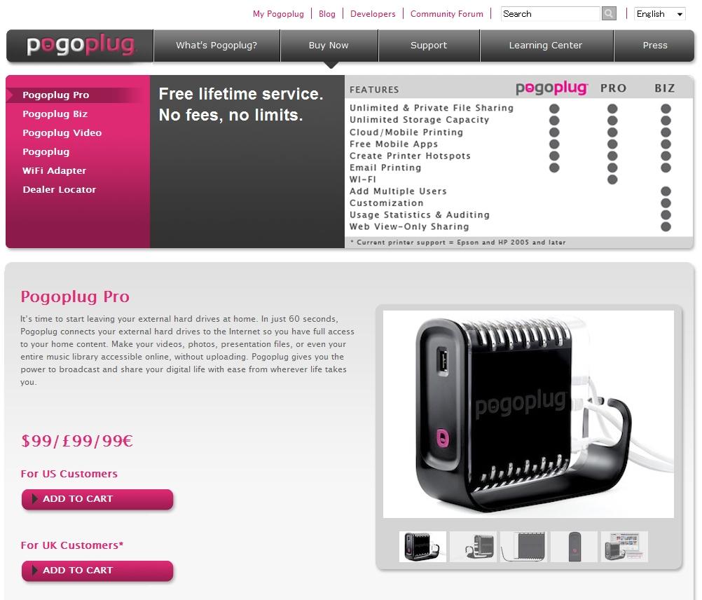 米国では現在Pogoplug Pro、Biz、Videoなど4種類のモデルが紹介されている