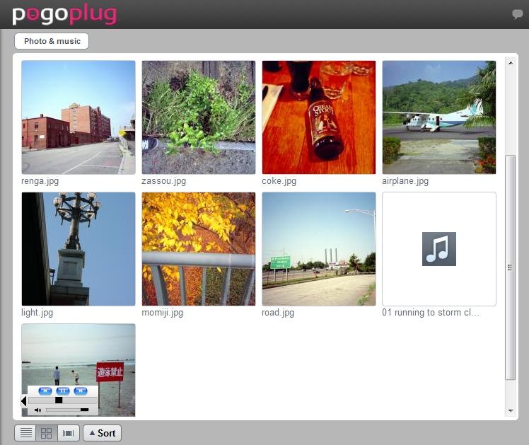 公開状態にあるファイルを閲覧しているところ。Pogoplugのユーザーではない人も「my.pogoplug.com」のGUI上でファイルを閲覧できる。動画や音楽の再生も可能だ