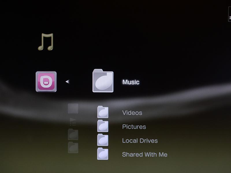PlayStation 3でDLNAクライアント機能を使ってPogoplugを表示した状態