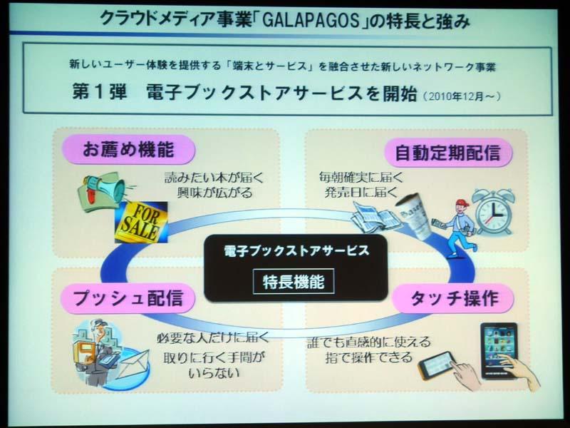 シャープGALAPAGOSの特徴。プッシュ配信/定期配信やタッチ操作を挙げる