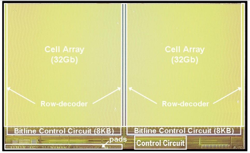 東芝とSanDiskが共同開発したMLC方式64Gbit NANDフラッシュメモリのシリコンダイ写真