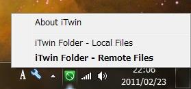 iTwinのフォルダはタスクトレイの右クリックメニューでローカルとリモートを切り替えて使う